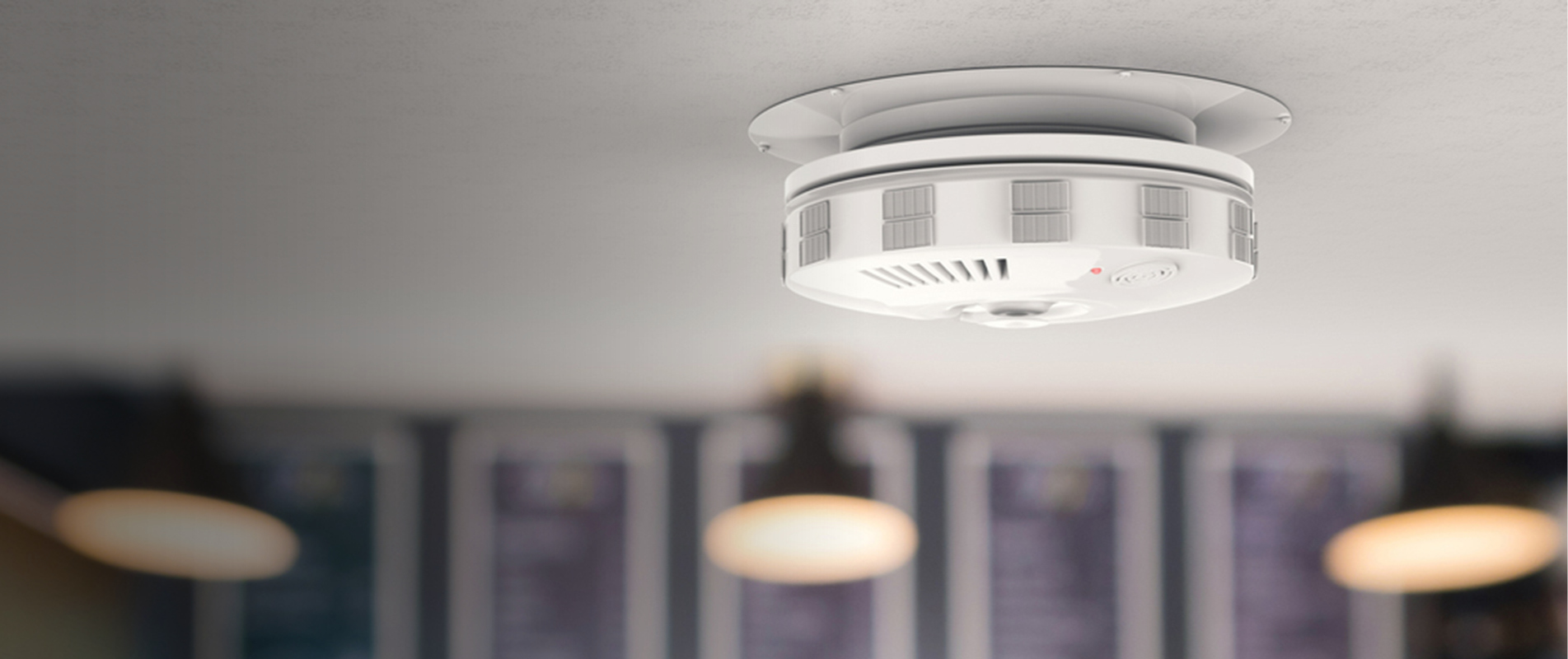 fire alarm smoke detector on ceiling